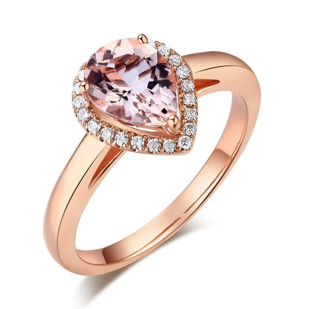 Peach Morganite (1.2ct) Ring in 14k Rose Gold with Diamonds (0.115ct) 14K Gold Engagement Rings Oanthan 14k White Gold US Size 4