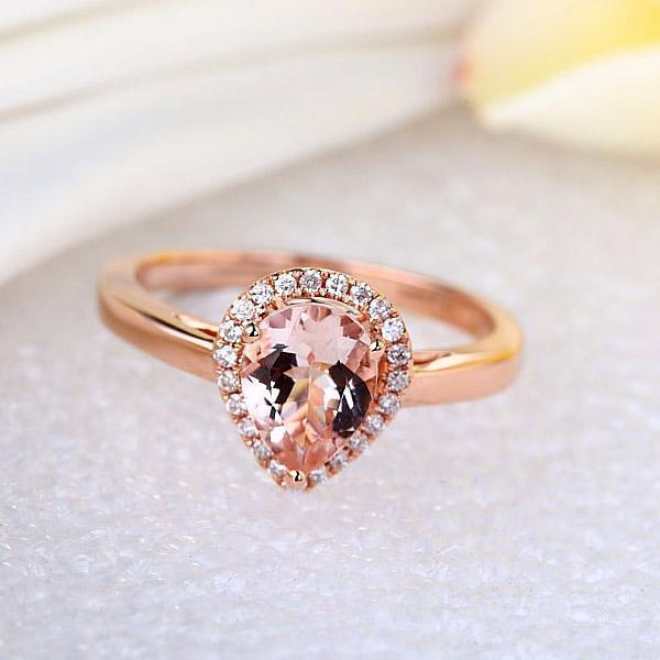 Peach Morganite (1.2ct) Ring in 14k Rose Gold with Diamonds (0.115ct) 14K Gold Engagement Rings Oanthan