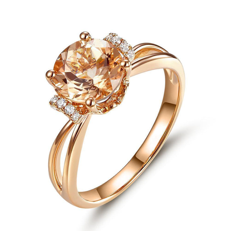 Peach Morganite (1.2ct) Ring in 14k Rose Gold with Diamonds (0.12ct) 14K Gold Engagement Rings Oanthan 14k White Gold US Size 4