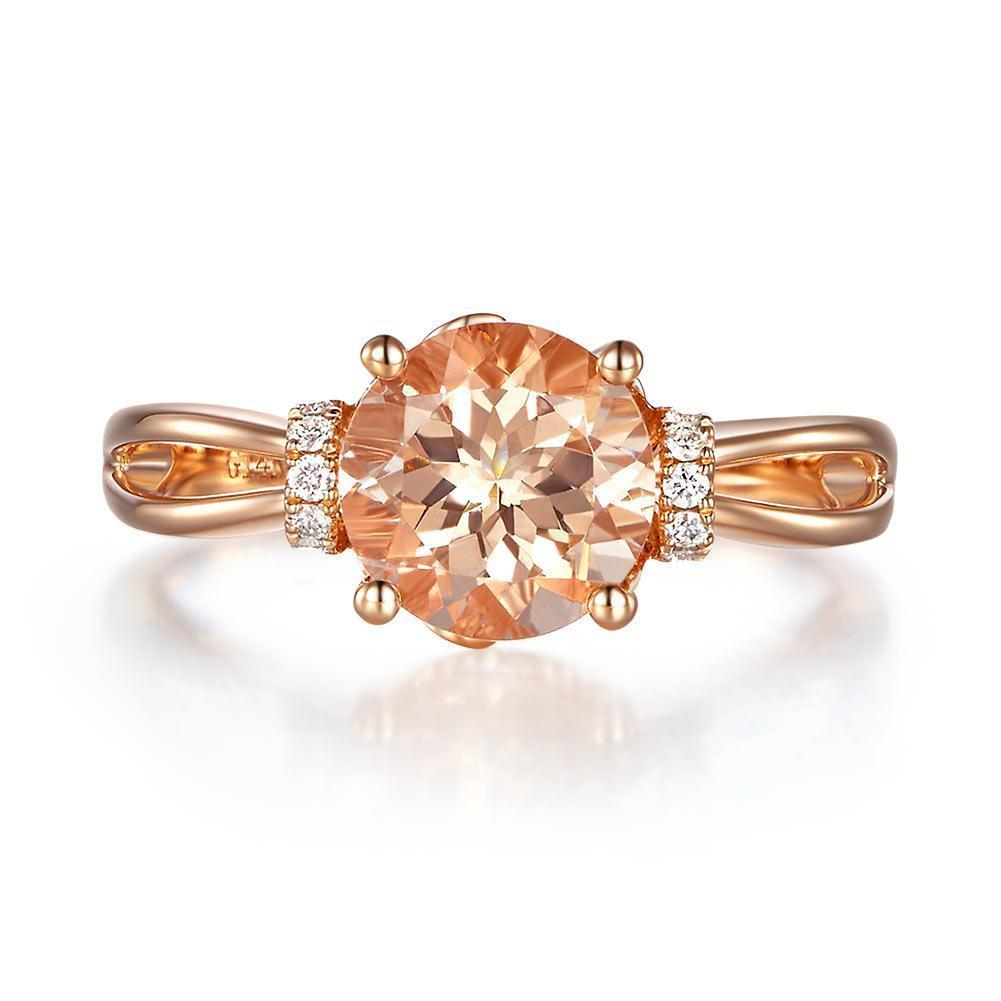 Peach Morganite (1.2ct) Ring in 14k Rose Gold with Diamonds (0.12ct) 14K Gold Engagement Rings Oanthan