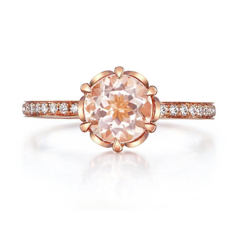Peach Morganite (1.2ct) Ring in 14k Rose Gold with Diamonds (0.147ct) 14K Gold Engagement Rings Oanthan