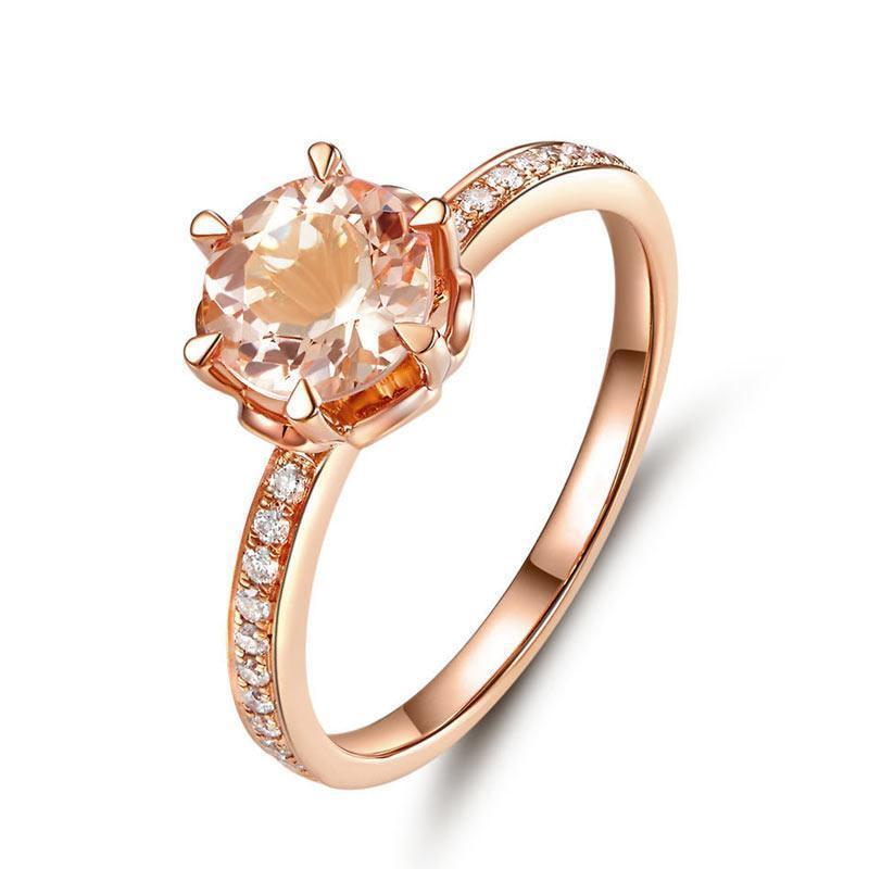 Peach Morganite (1.2ct) Ring in 14k Rose Gold with Diamonds (0.147ct) 14K Gold Engagement Rings Oanthan 14k White Gold US Size 4