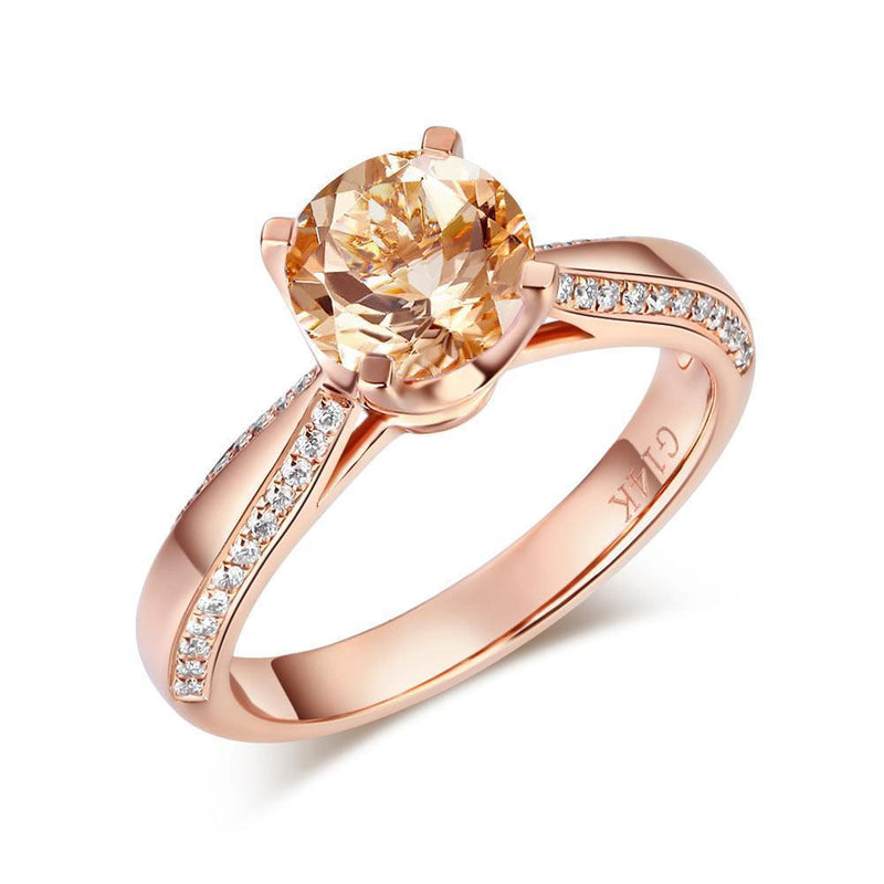 Peach Morganite (1.2ct) Ring in 14k Rose Gold with Diamonds (0.216ct) 14K Gold Engagement Rings Oanthan 14k White Gold US Size 4