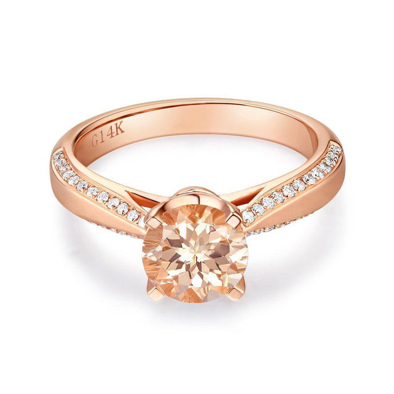 Peach Morganite (1.2ct) Ring in 14k Rose Gold with Diamonds (0.216ct) 14K Gold Engagement Rings Oanthan