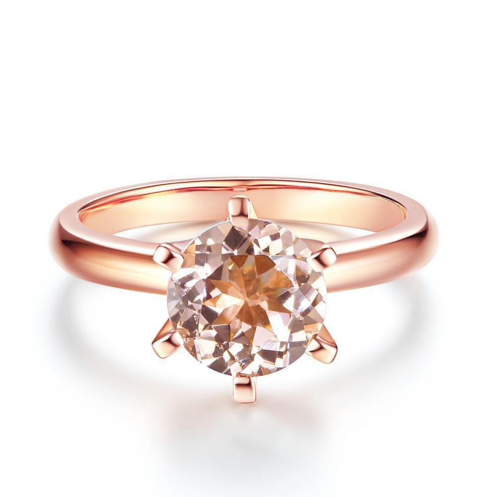 Peach Morganite (1.2ct) Solitaire Ring in 14k Rose Gold 14K Gold Engagement Rings Oanthan