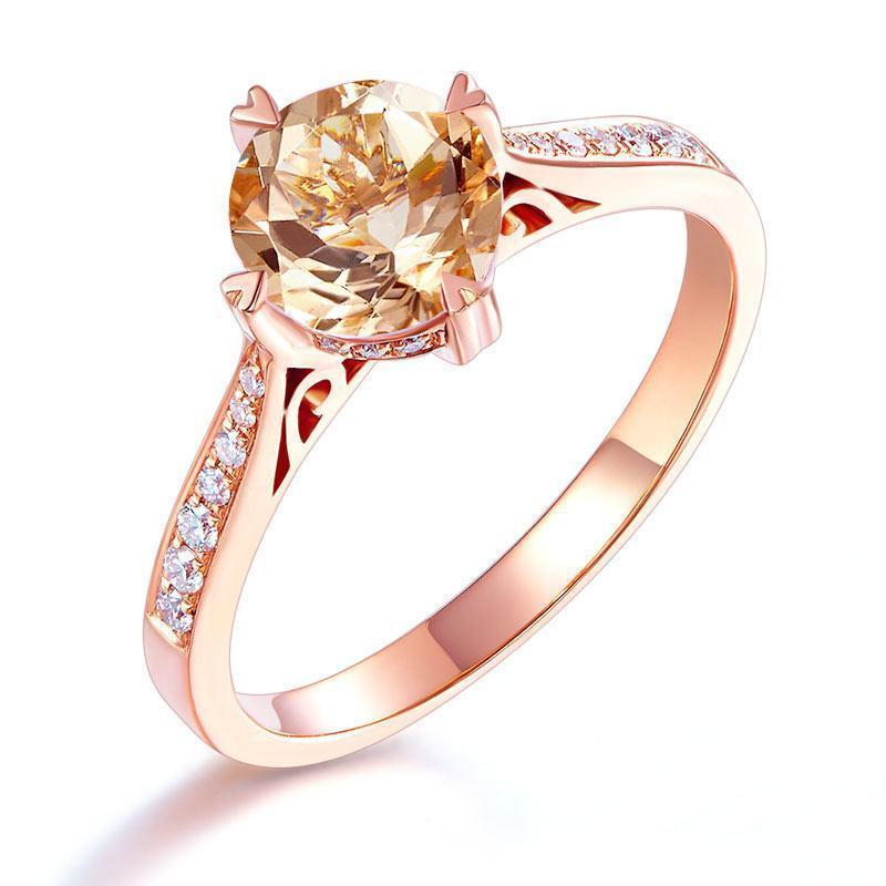 Peach Morganite (1.2ct) Vintage-Style Ring in 14k Rose Gold with Diamonds (0.135) 14K Gold Engagement Rings Oanthan 14k White Gold US Size 4