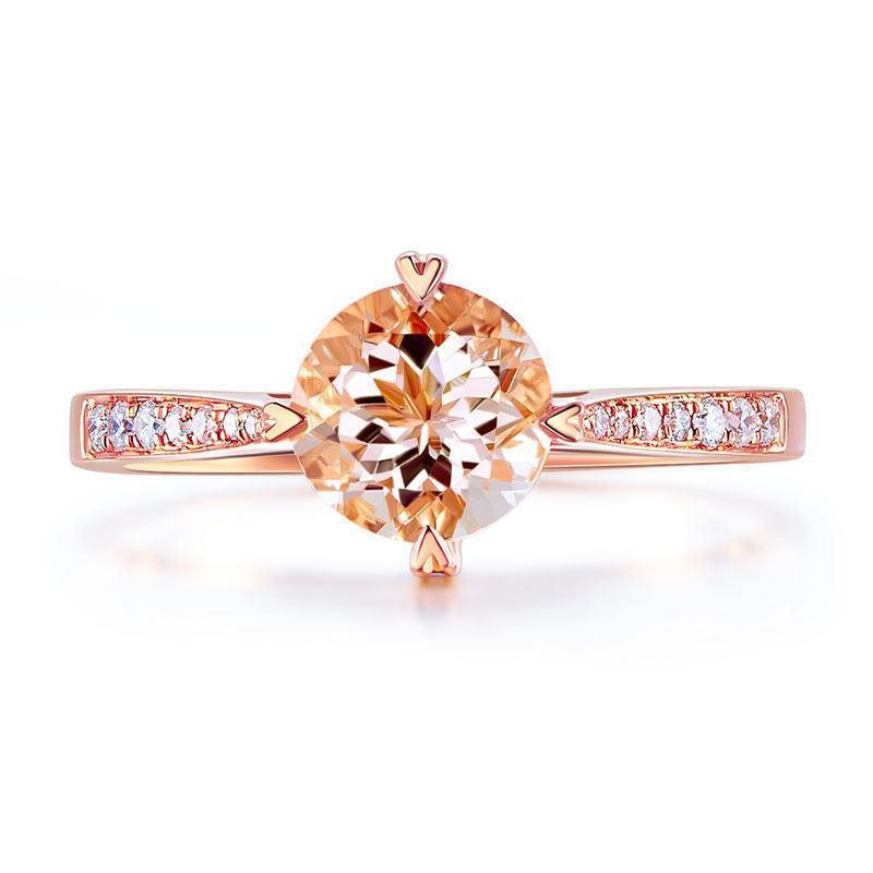 Peach Morganite (1.2ct) Vintage-Style Ring in 14k Rose Gold with Diamonds (0.135) 14K Gold Engagement Rings Oanthan