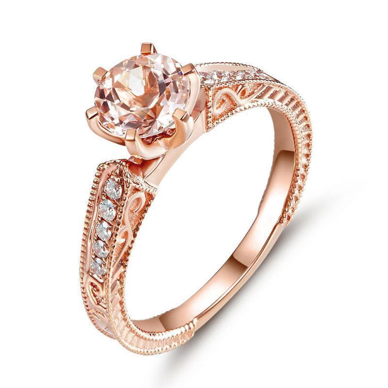 Peach Morganite (1.2ct) Vintage,Style Ring in 14k Rose Gold with Diamonds  (0.13ct)
