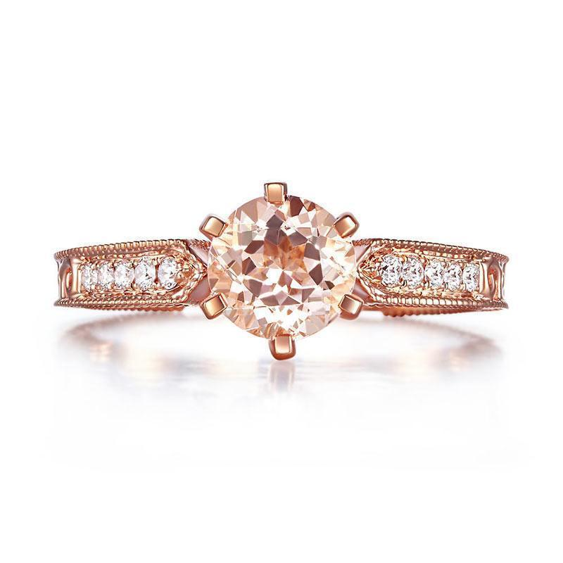 Peach Morganite (1.2ct) Vintage-Style Ring in 14k Rose Gold with Diamonds (0.13ct) 14K Gold Engagement Rings Oanthan