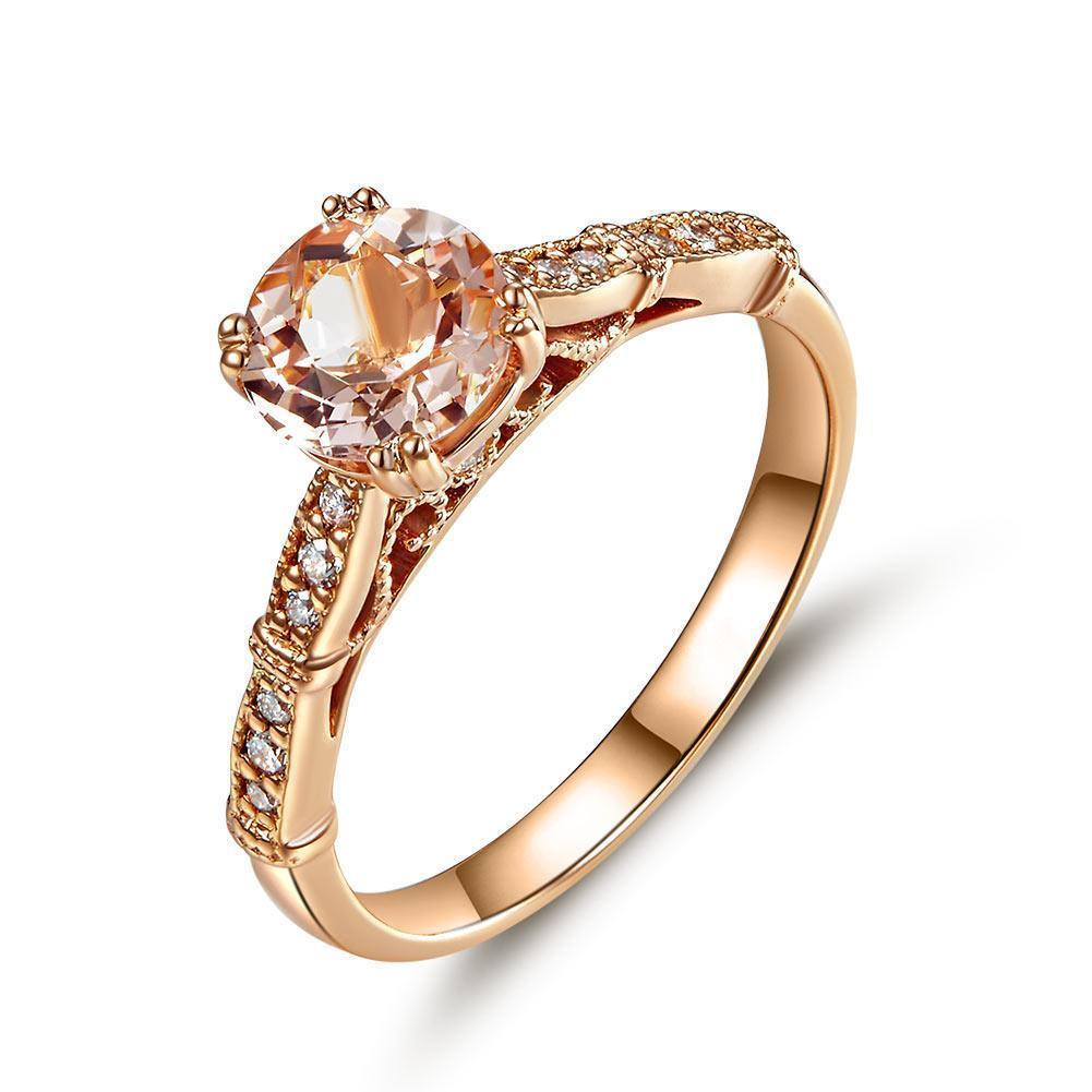 Peach Morganite (1.2ct) Vintage-Style Ring in 14k Rose Gold with Diamonds (0.1ct) 14K Gold Engagement Rings Oanthan 14k White Gold US Size 4