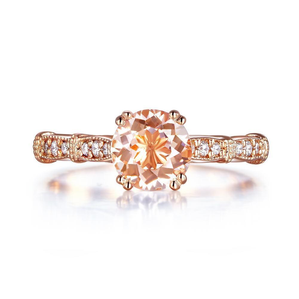 Peach Morganite (1.2ct) Vintage-Style Ring in 14k Rose Gold with Diamonds (0.1ct) 14K Gold Engagement Rings Oanthan