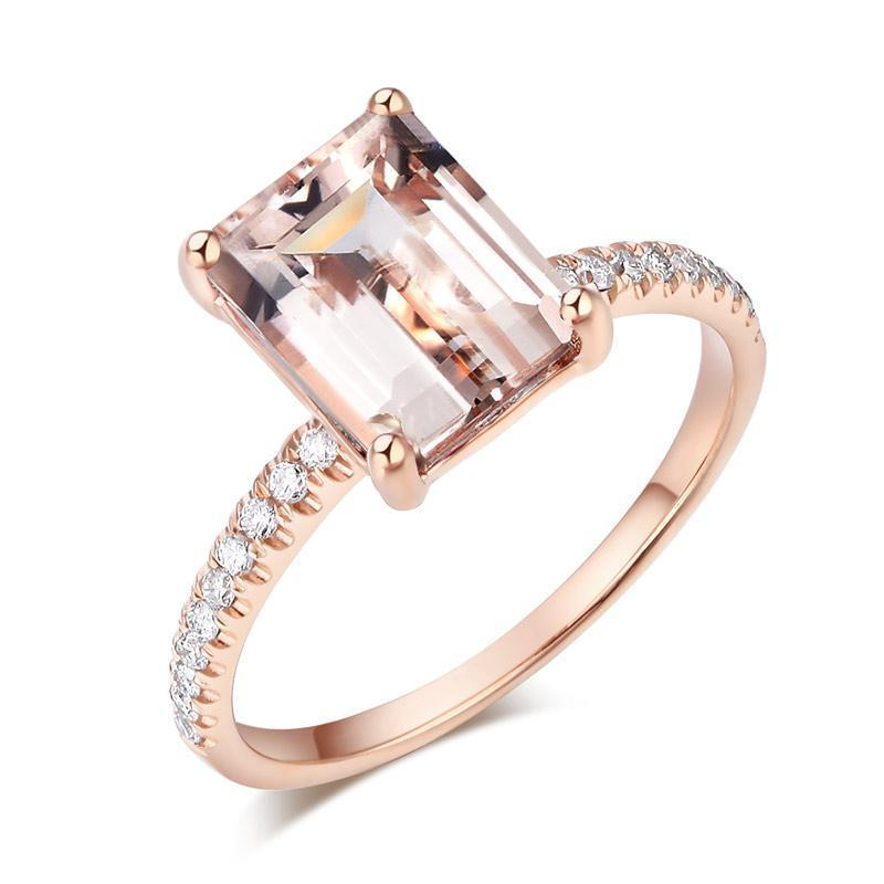 Peach Morganite (2.8ct) Emerald-Cut Ring in 14k Rose Gold with Diamonds (0.168ct) 14K Gold Engagement Rings Oanthan 14k White Gold US Size 4