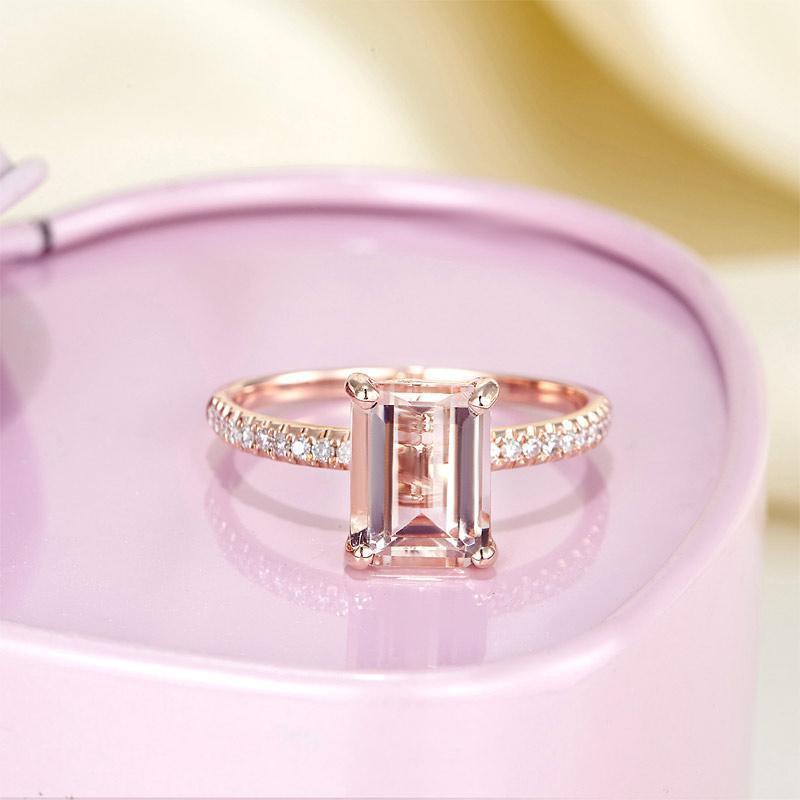 Peach Morganite (2.8ct) Emerald-Cut Ring in 14k Rose Gold with Diamonds (0.168ct) 14K Gold Engagement Rings Oanthan