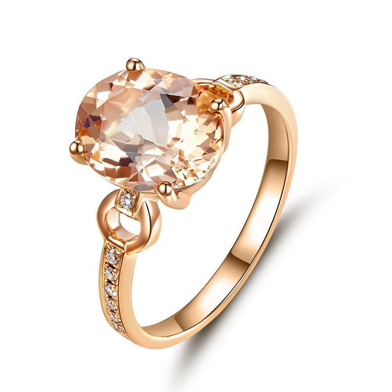 Peach Morganite (3.5ct) Ring in 14k Rose Gold with Diamonds (0.097ct) 14K Gold Engagement Rings Oanthan 14k White Gold US Size 4