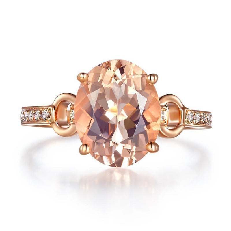 Peach Morganite (3.5ct) Ring in 14k Rose Gold with Diamonds (0.097ct) 14K Gold Engagement Rings Oanthan
