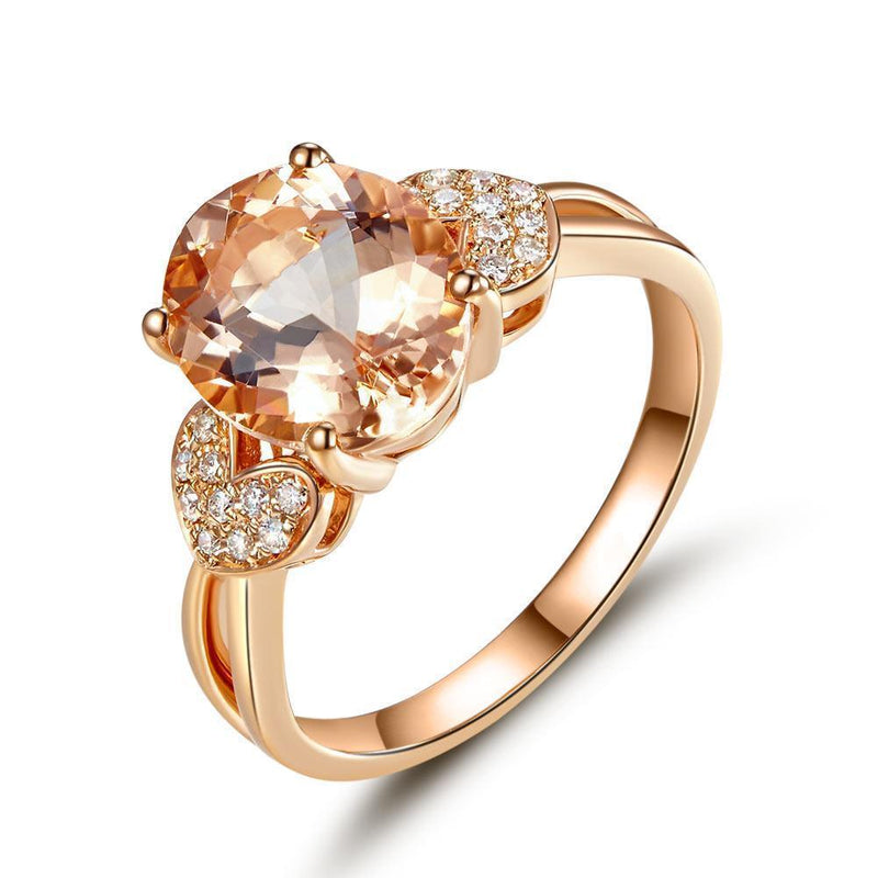 Peach Morganite (3.5ct) Ring in 14k Rose Gold with Diamonds (0.128ct) 14K Gold Engagement Rings Oanthan 14k White Gold US Size 4