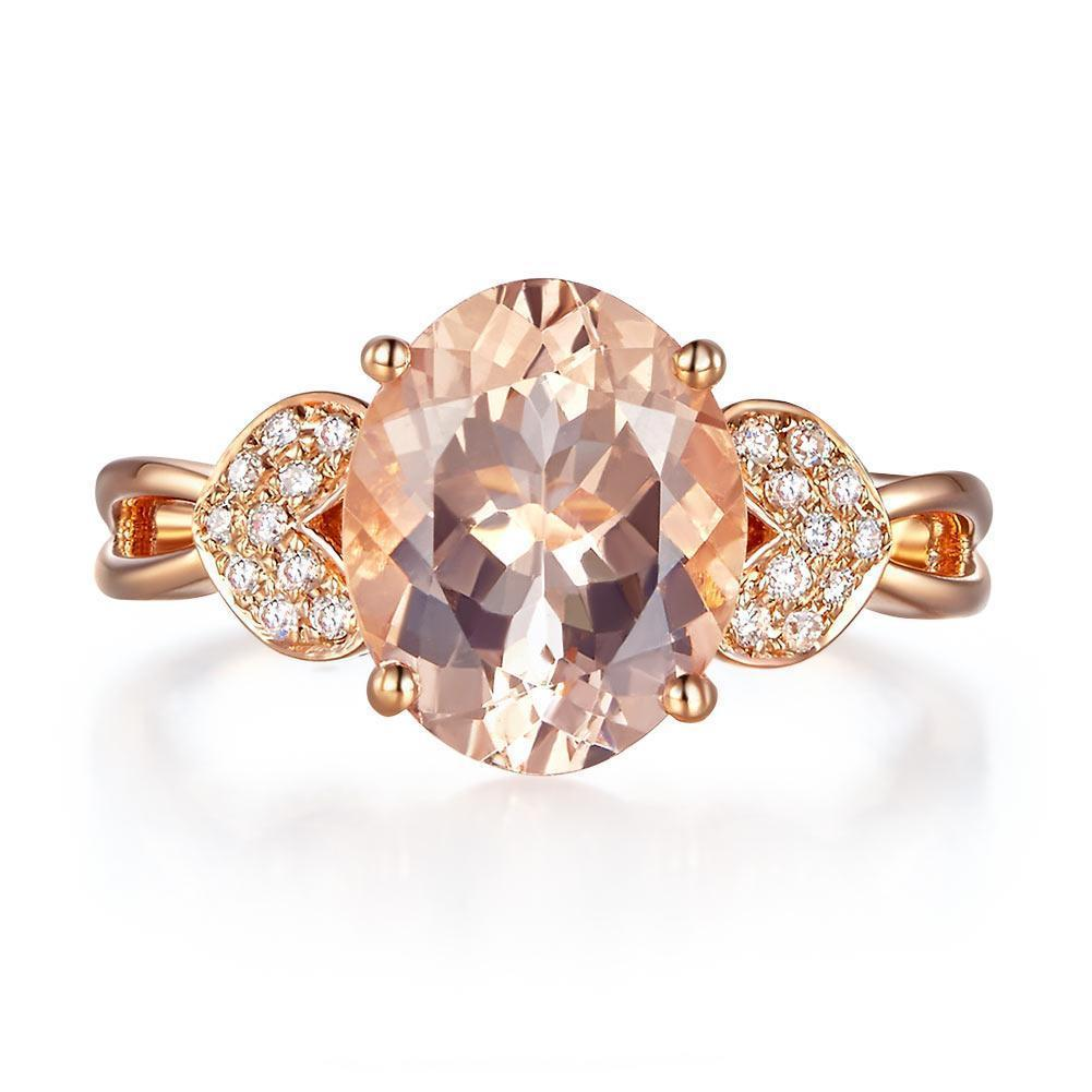 Peach Morganite (3.5ct) Ring in 14k Rose Gold with Diamonds (0.128ct) 14K Gold Engagement Rings Oanthan