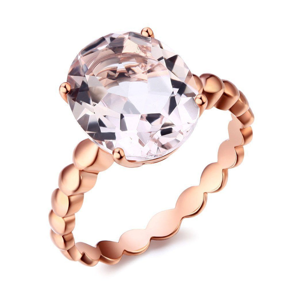 Peach Morganite Solitaire (3.3ct) Ring in 14k Rose Gold 14K Gold Engagement Rings Oanthan 14k White Gold US Size 4