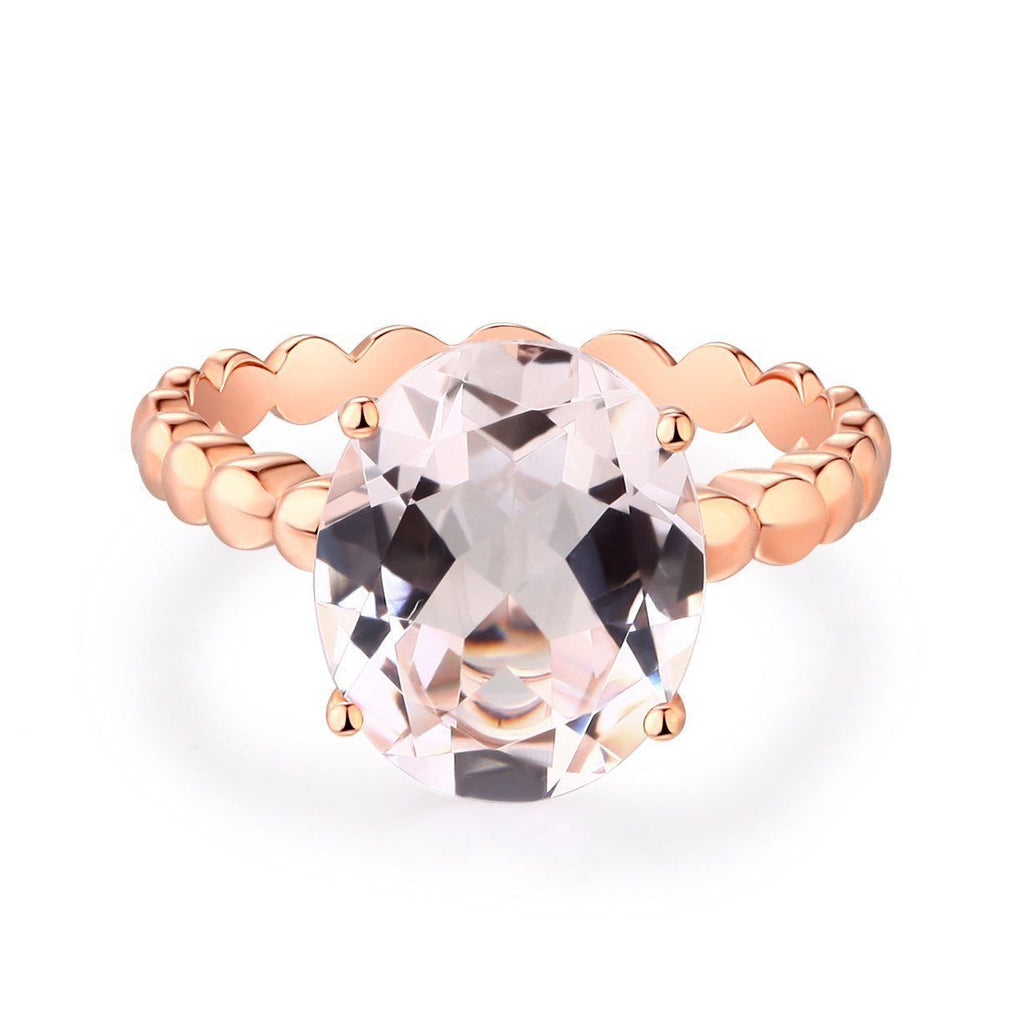Peach Morganite Solitaire (3.3ct) Ring in 14k Rose Gold 14K Gold Engagement Rings Oanthan