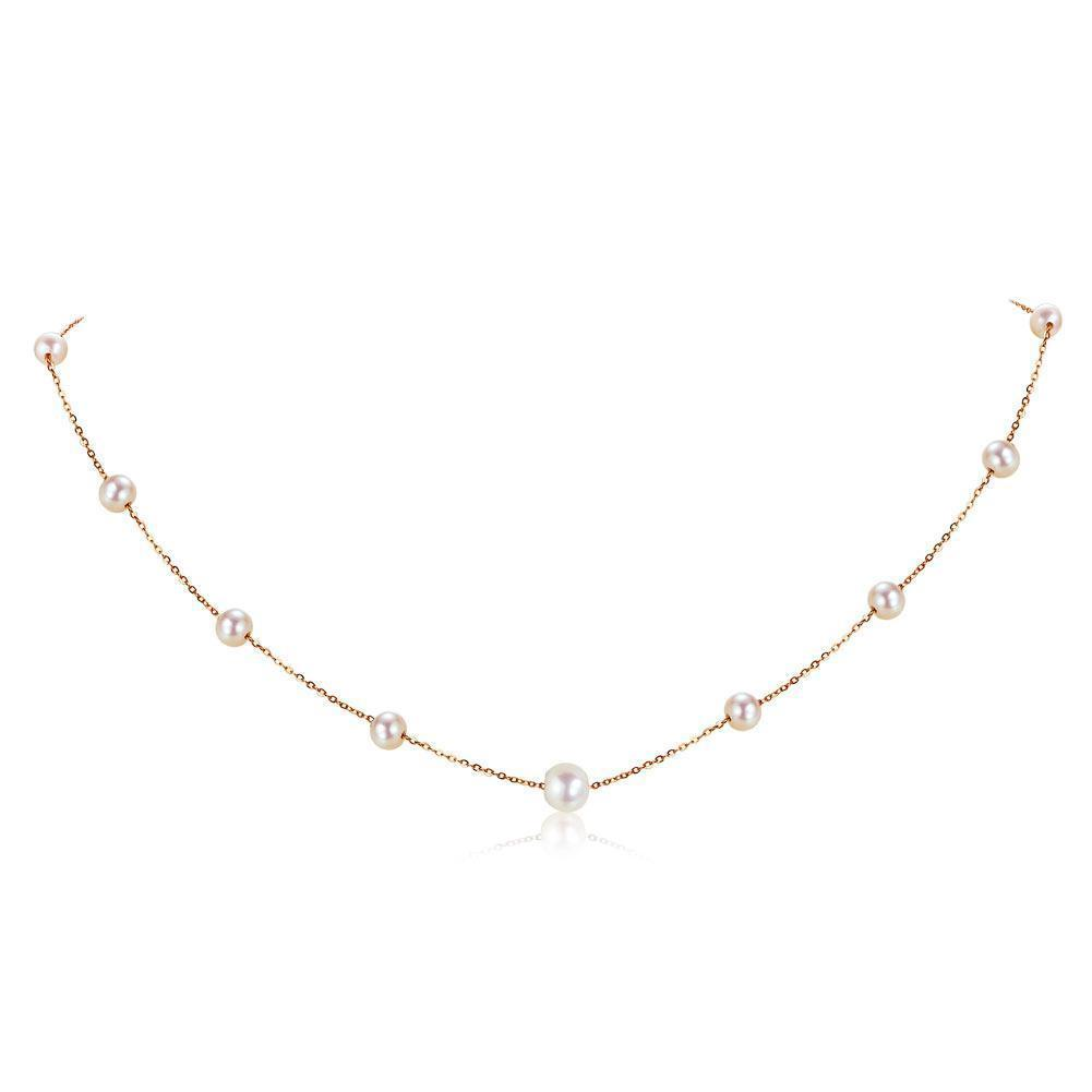 Pearl Necklace in 18k Rose Gold 18K Gold Pendants Oanthan