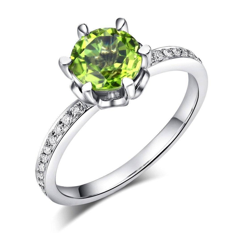 Peridot (1.4ct) Ring in 14K White Gold with Diamonds (0.147ct) 14K Gold Engagement Rings Oanthan 14k White Gold US Size 4