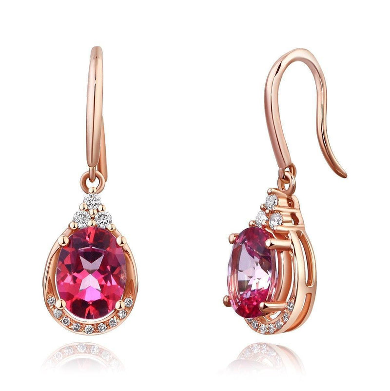 Pink Topaz (1.6ct) Earrings in 14k Rose Gold with Diamonds (0.185ct) 14K Gold Earrings Oanthan