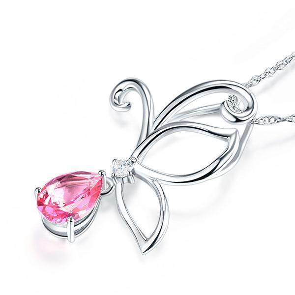 Pink Topaz (2.5ct) Pendant in 14k White Gold with Diamond (0.03ct) 14K Gold Pendants Oanthan