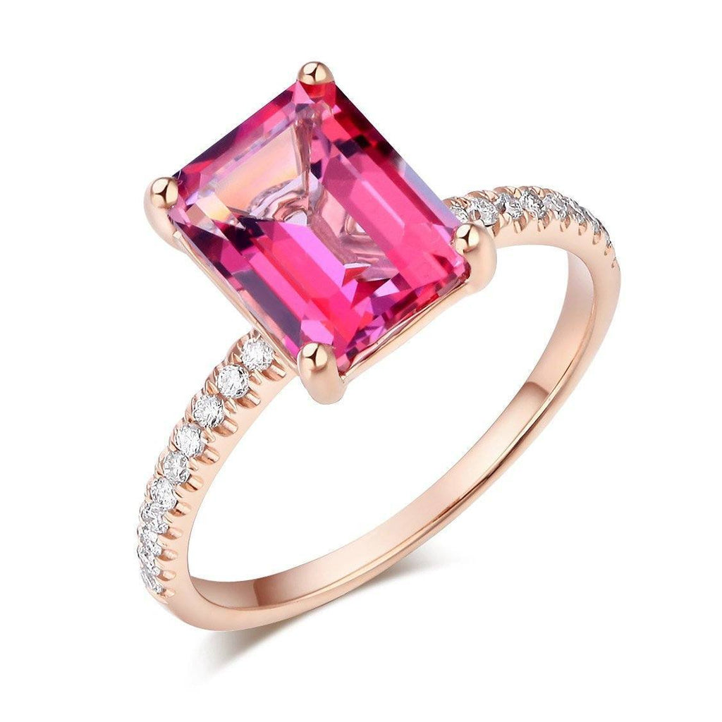 Pink Topaz (2.8ct) Ring in 14k Rose Gold with Diamonds (0.168ct) 14K Gold Engagement Rings Oanthan 14k White Gold US Size 4