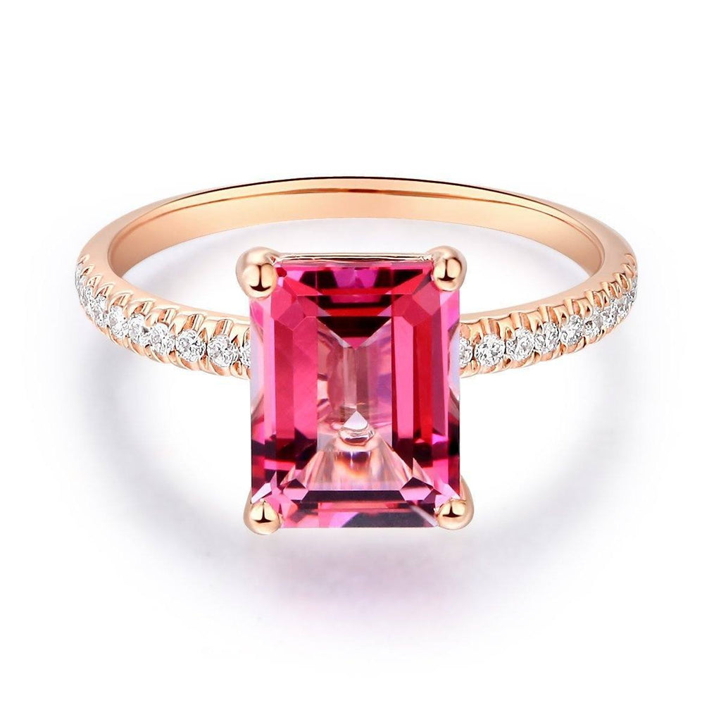 Pink Topaz (2.8ct) Ring in 14k Rose Gold with Diamonds (0.168ct) 14K Gold Engagement Rings Oanthan