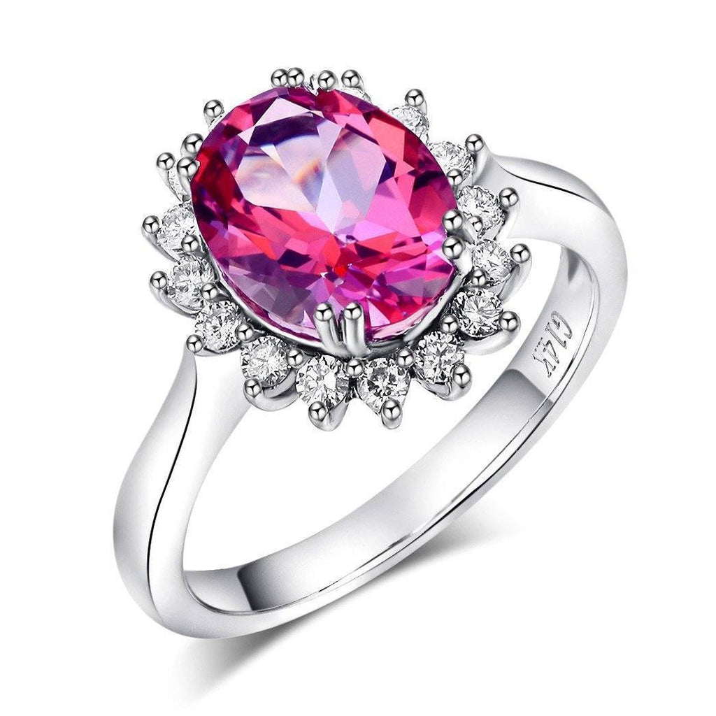Pink Topaz (2.8ct) Ring in 14k White Gold with Diamonds (0.356ct) 14K Gold Engagement Rings Oanthan 14k White Gold US Size 4