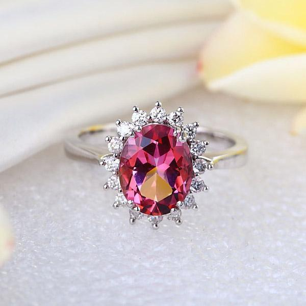 Pink Topaz (2.8ct) Ring in 14k White Gold with Diamonds (0.356ct) 14K Gold Engagement Rings Oanthan