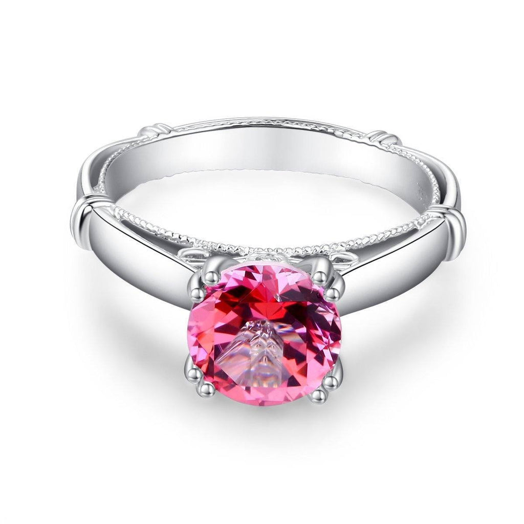 Pink Topaz (2ct) Ring in 14k White Gold with Diamonds (0.02ct) 14K Gold Engagement Rings Oanthan