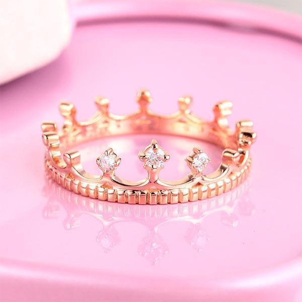 Princess Crown Ring in 14k Rose Gold with Diamonds (0.04ct) Women Wedding Bands Oanthan