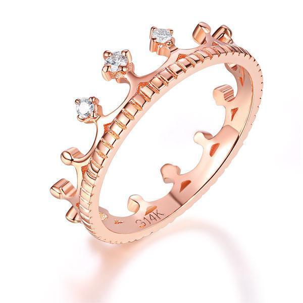 Princess Crown Ring in 14k Rose Gold with Diamonds (0.04ct) Women Wedding Bands Oanthan 14k White Gold US Size 4