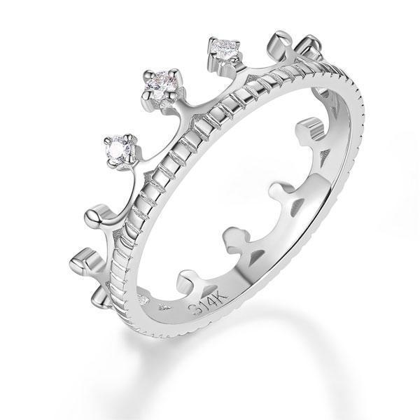 Princess Crown Ring in 14k White Gold with Diamonds (0.048ct) Women Wedding Bands Oanthan 14k White Gold US Size 4