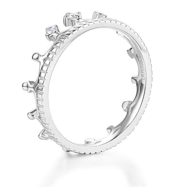 Princess Crown Ring in 14k White Gold with Diamonds (0.048ct) Women Wedding Bands Oanthan
