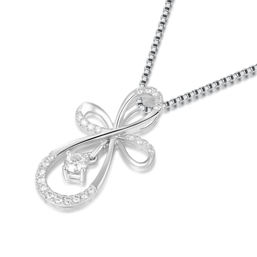 Ribbon Cross Pendant in 18k White Gold with 0.232ct Diamonds Pendant IAD