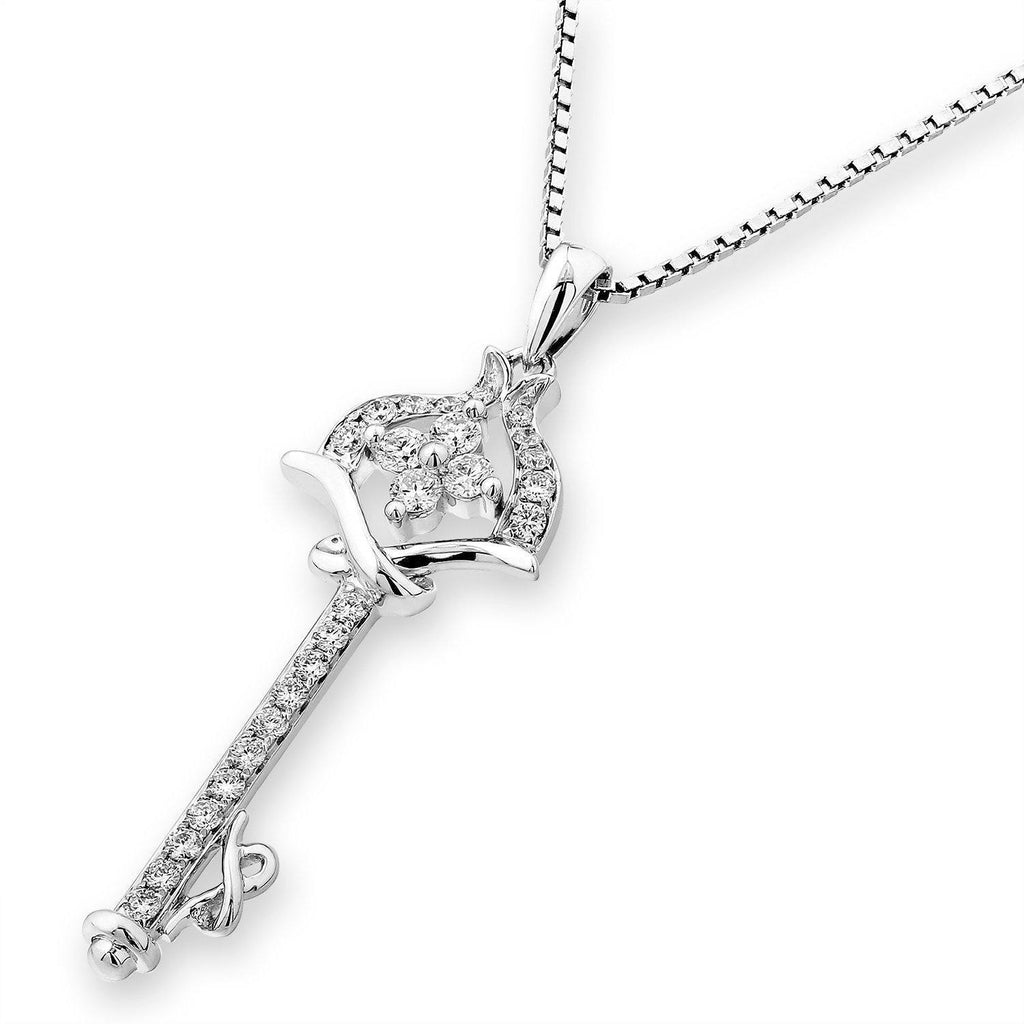 Ribbon-Key Pendant in 18k White Gold with Diamonds (0.296ct) Pendant IAD