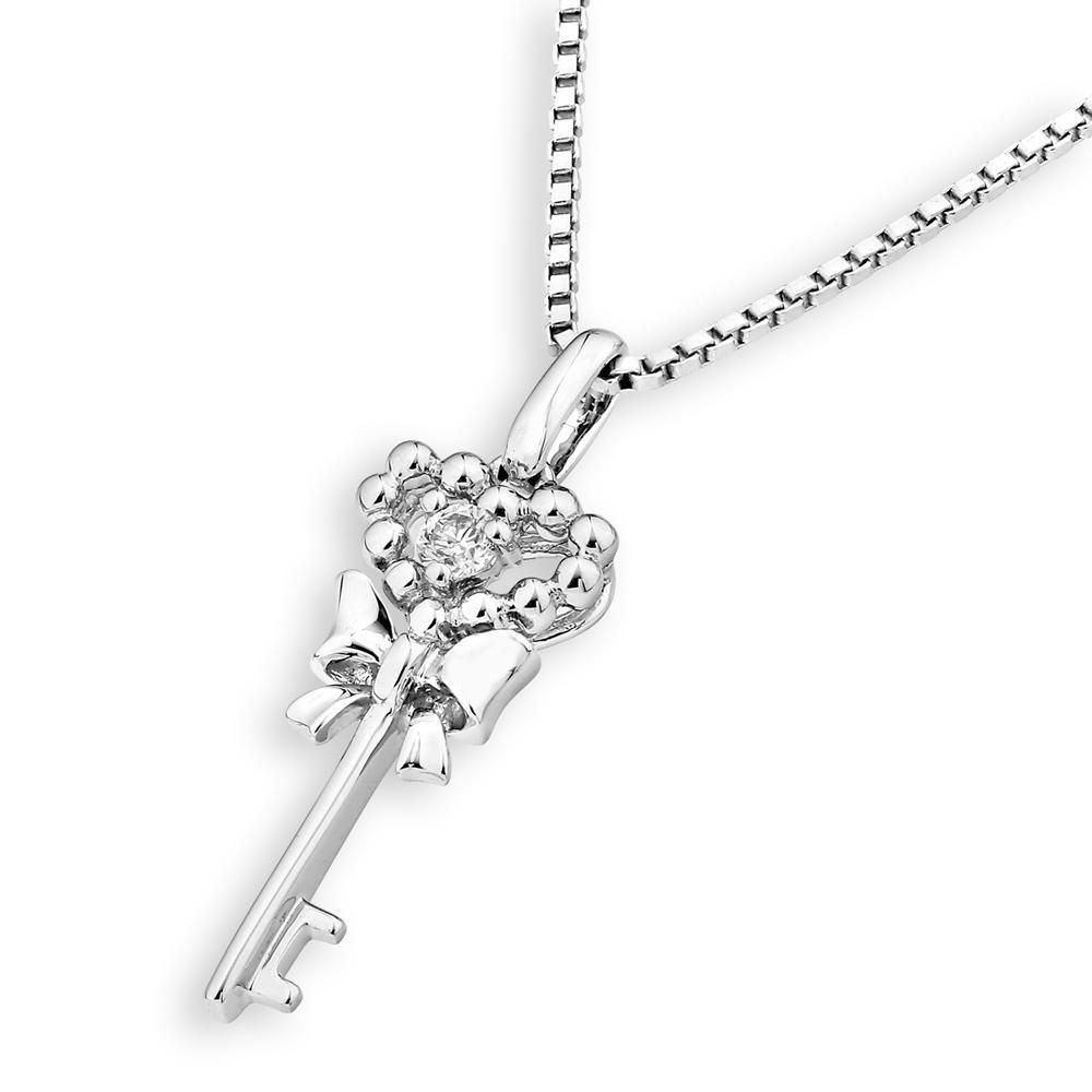 Ribboned Heart-Key Pendant in 18k White Gold with Diamonds (0.029ct) Pendant IAD