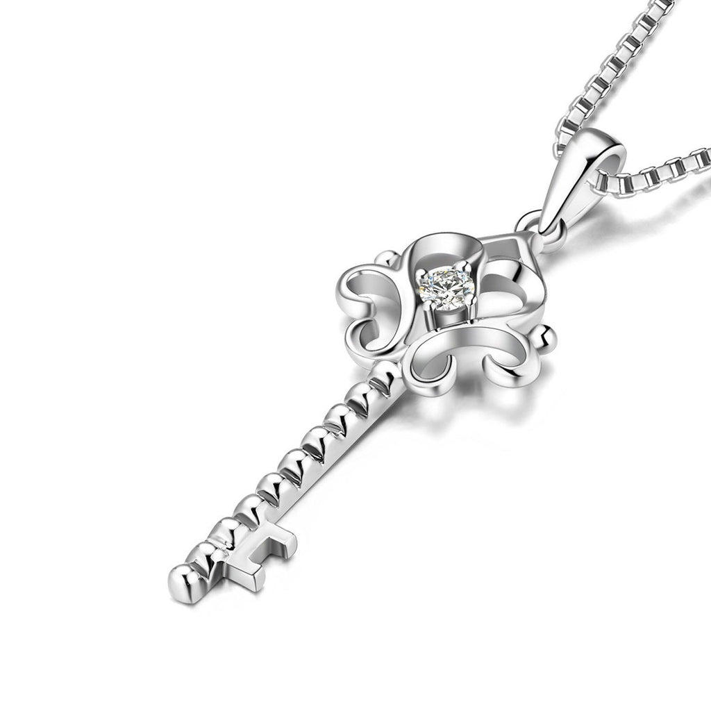 Ribboned Heart-Key Pendant in 18k White Gold with Diamonds (0.034ct) Pendant IAD