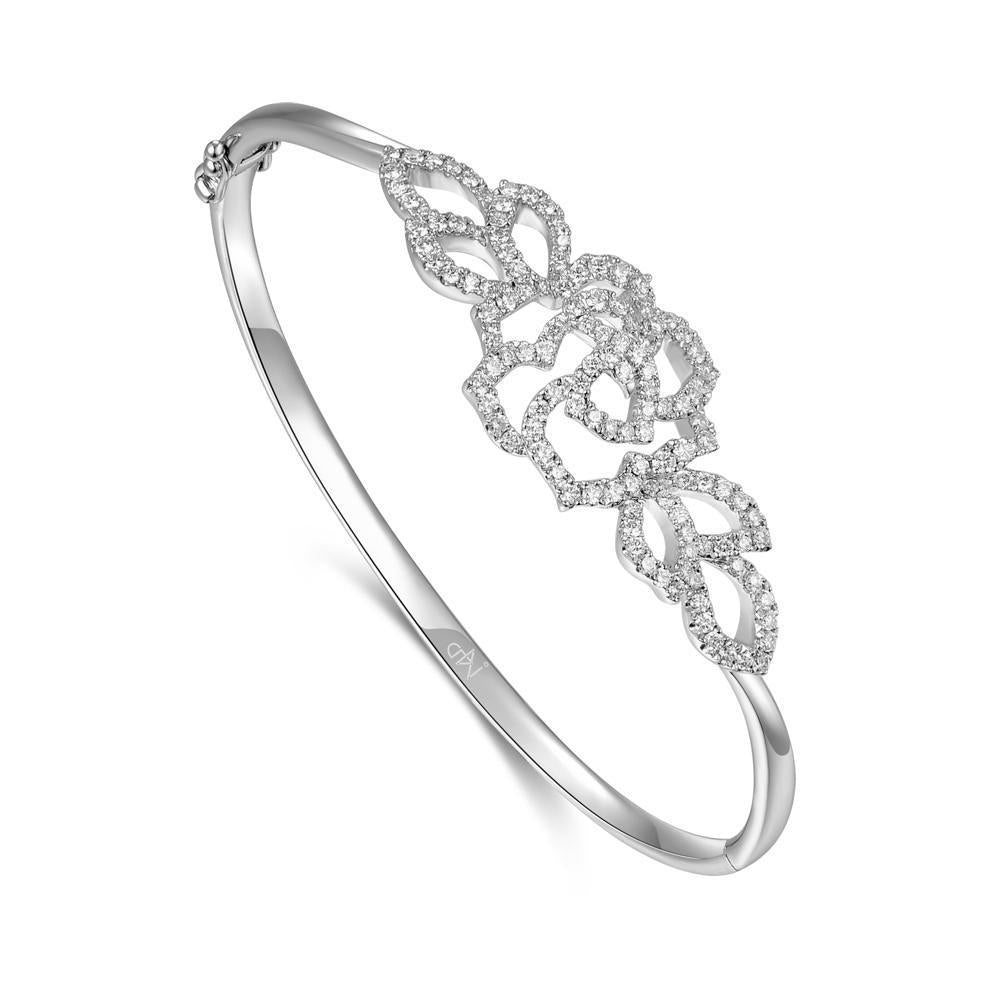 Rose Flower Bangle in 18k White Gold with Diamonds (0.929ct) Bangle IAD