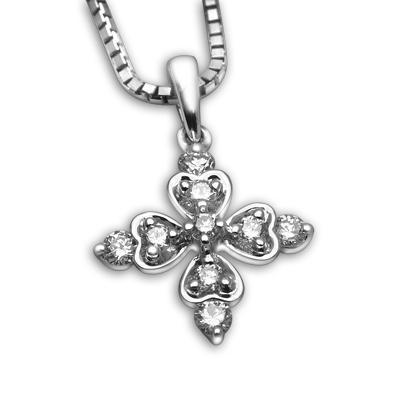 Royal Windsor Cross Pendant in 18k White Gold with Diamonds (0.151ct) Pendant IAD