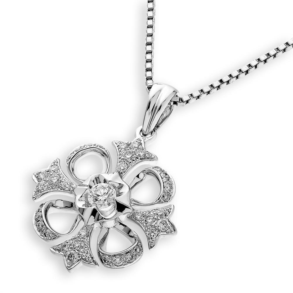 Royal Windsor Cross Pendant in 18k White Gold with Diamonds (0.251ct) Pendant IAD