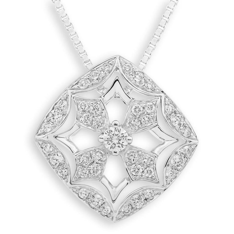 Royal Windsor Cross Pendant in 18k White Gold with Diamonds (0.379ct) Pendant IAD