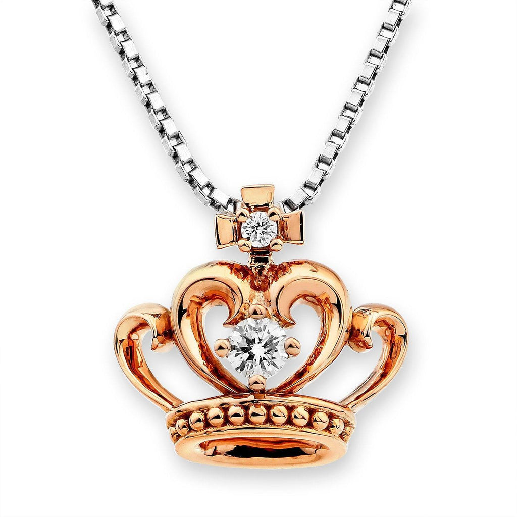 Royal Windsor Crown Pendant in 18k Rose Gold with Diamonds (0.081ct) Pendant IAD
