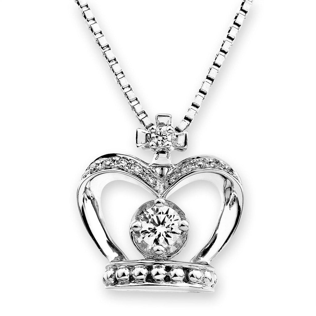 Royal Windsor Crown Pendant in 18k White Gold with Diamonds (0.153ct) Pendant IAD