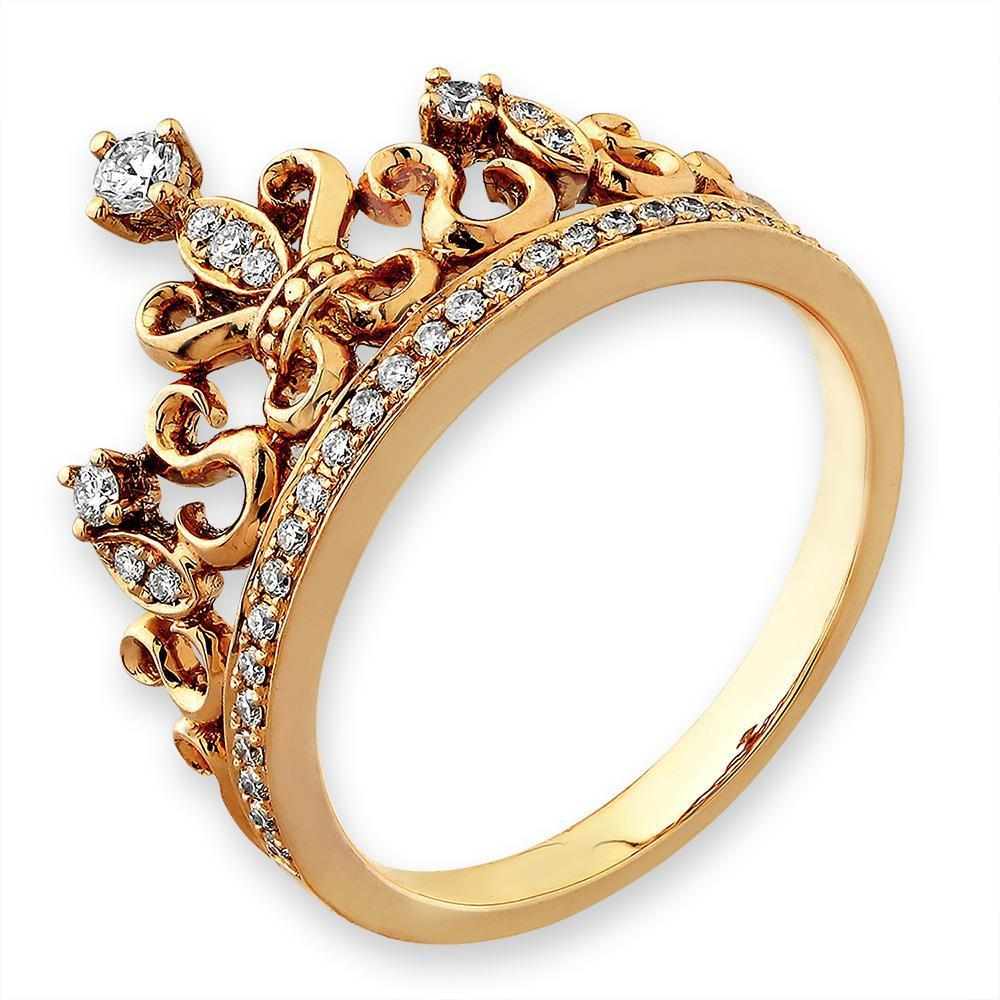 Royal Windsor Crown Ring in 18k Rose Gold with Diamonds (0.212ct) Ring IAD