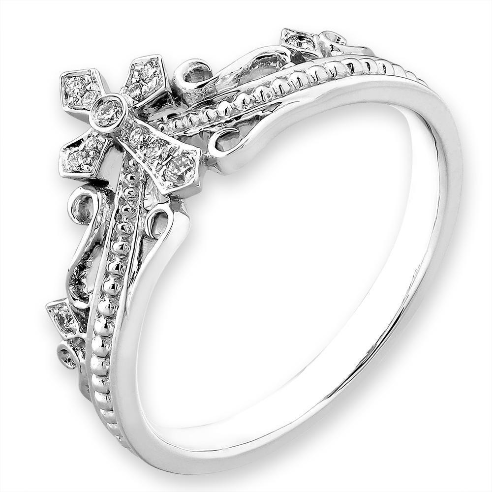 Royal Windsor Crown Ring in 18k White Gold with Diamonds (0.058ct) Ring IAD