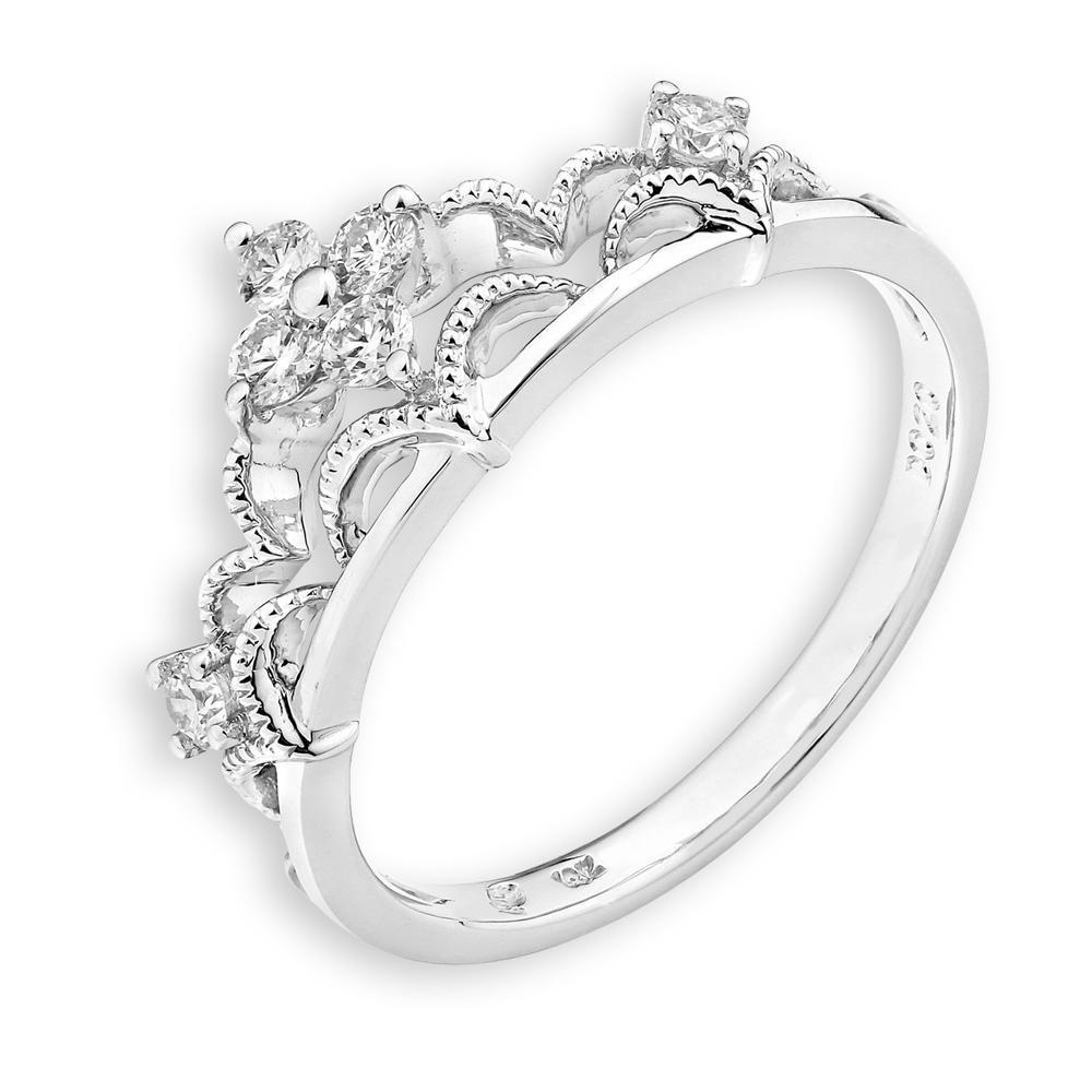 Royal Windsor Crown Ring in 18k White Gold with Diamonds (0.185ct) Ring IAD