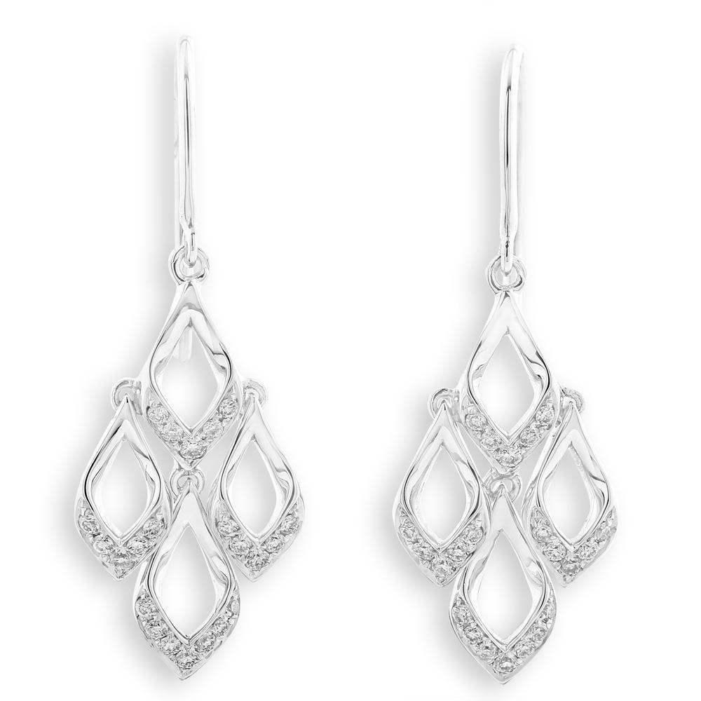 Royal Windsor Earrings in 18k White Gold with Diamonds (0.166ct) Earrings IAD